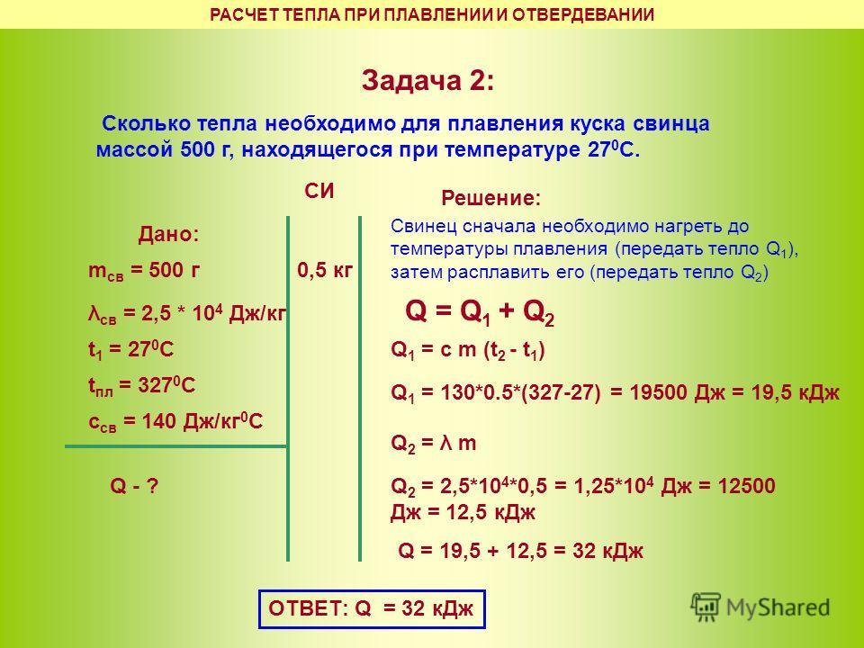 Задача 2: Сколько тепла необходимо для плавления куска свинца массой 500 г, находящегося при температуре 27 0 С. Дано: m св = 500 г λ св = 2,5 * 10 4 Дж/кг Q - ? t 1 = 27 0 C t пл = 327 0 C Решение: Свинец сначала необходимо нагреть до температуры пл