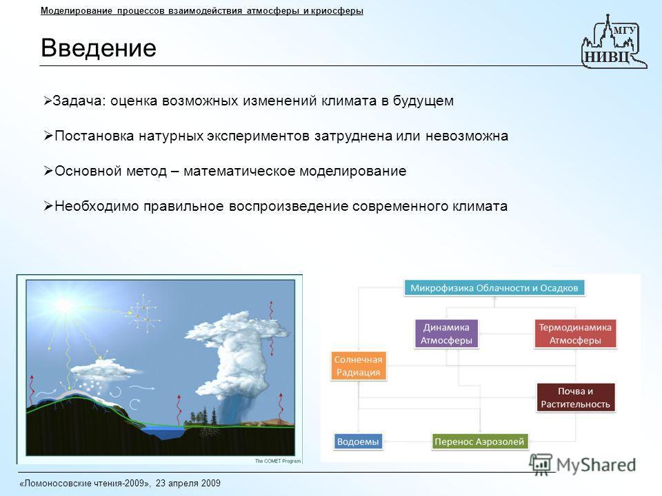 Введение Моделирование процессов взаимодействия атмосферы и криосферы Задача: оценка возможных изменений климата в будущем Постановка натурных экспериментов затруднена или невозможна Основной метод – математическое моделирование Необходимо правильное