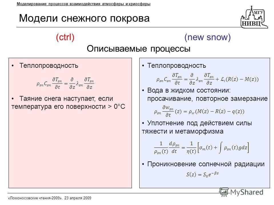 Модели снежного покрова Моделирование процессов взаимодействия атмосферы и криосферы Теплопроводность Таяние снега наступает, если температура его поверхности > 0°C Теплопроводность Вода в жидком состоянии: просачивание, повторное замерзание Уплотнен