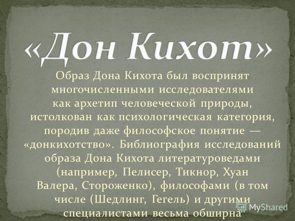 Образ Дона Кихота был воспринят многочисленными исследователями как архетип человеческой природы, истолкован как психологическая категория, породев даже философское понятие «донкихотство». Библиография исследований образа Дона Кихота литературоведами