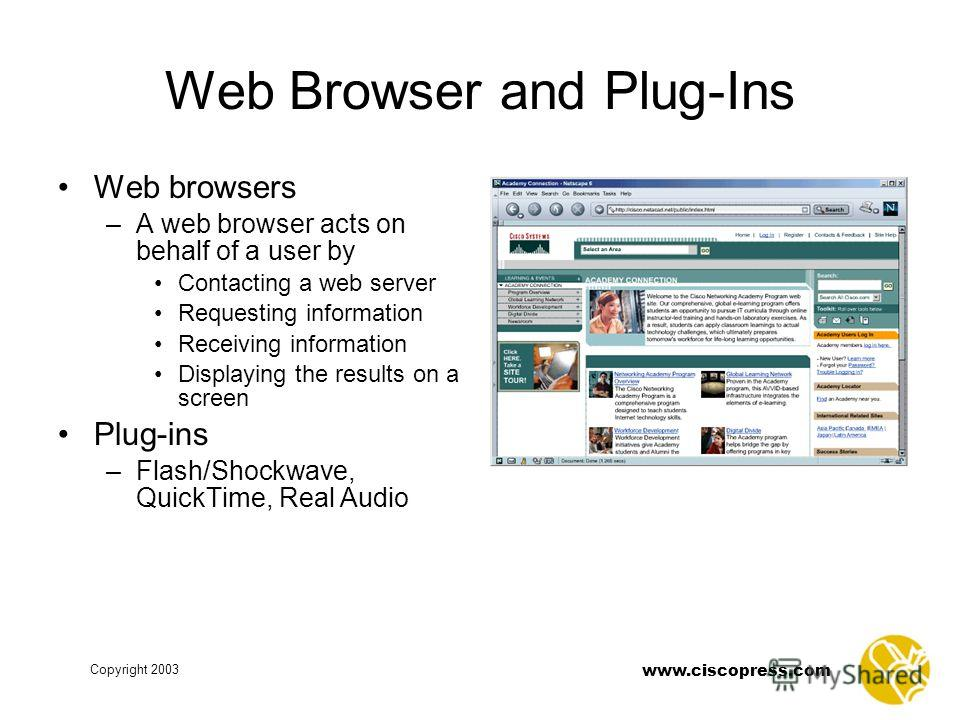 Copyright 2003 www.ciscopress.com Web Browser and Plug-Ins Web browsers –A web browser acts on behalf of a user by Contacting a web server Requesting information Receiving information Displaying the results on a screen Plug-ins –Flash/Shockwave, Quic