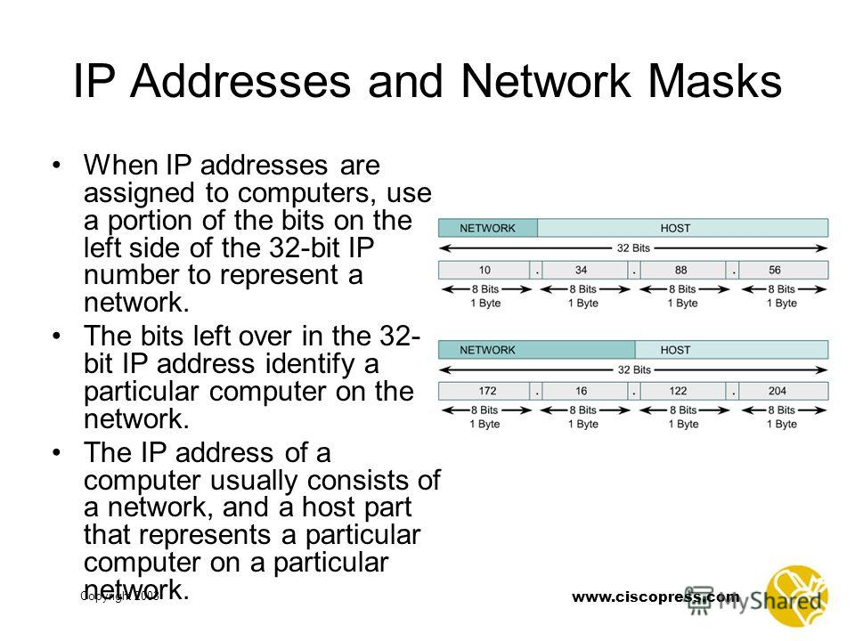 Copyright 2003 www.ciscopress.com IP Addresses and Network Masks When IP addresses are assigned to computers, use a portion of the bits on the left side of the 32-bit IP number to represent a network. The bits left over in the 32- bit IP address iden