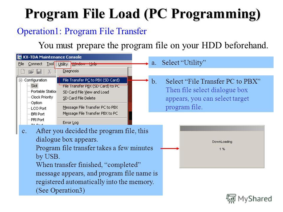 Program File Load (PC Programming) Operation1: Program File Transfer You must prepare the program file on your HDD beforehand. c.After you decided the program file, this dialogue box appears. Program file transfer takes a few minutes by USB. When tra