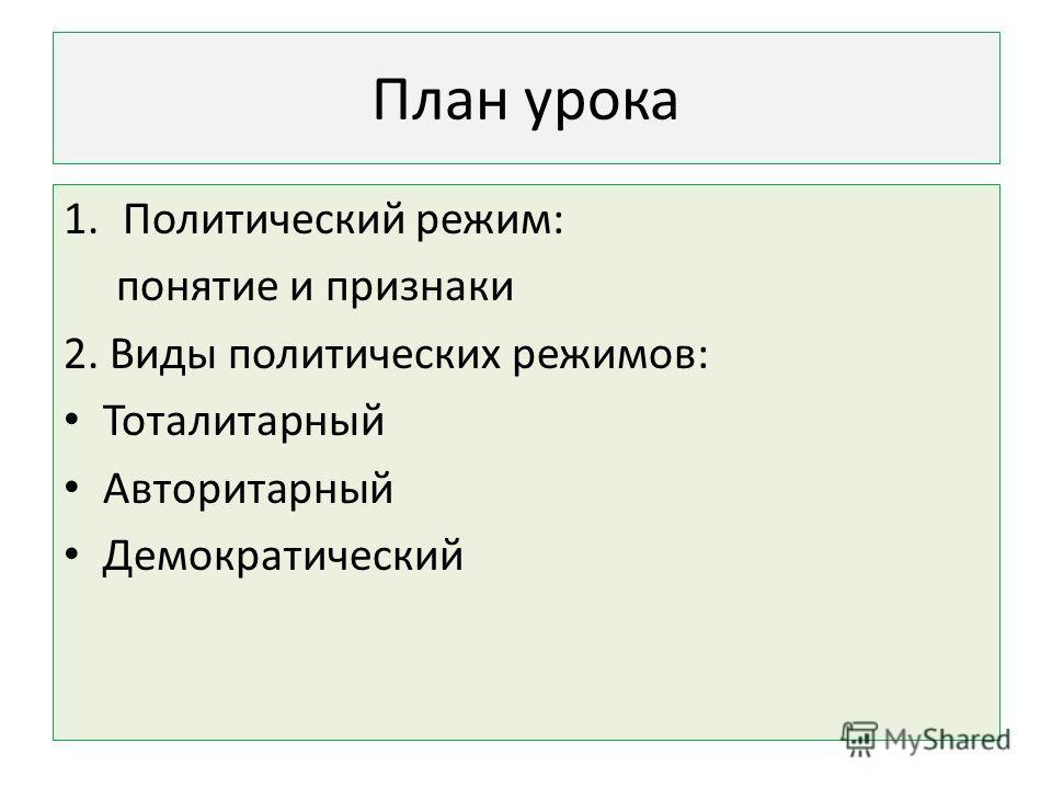 План урока 1. Политический режим: понятие и признаки 2. Виды политических режимов: Тоталитарный Авторитарный Демократический
