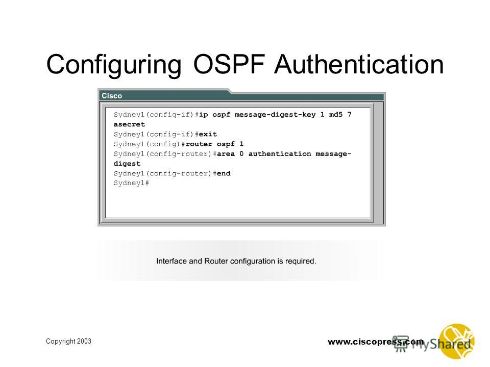 www.ciscopress.com Copyright 2003 Configuring OSPF Authentication