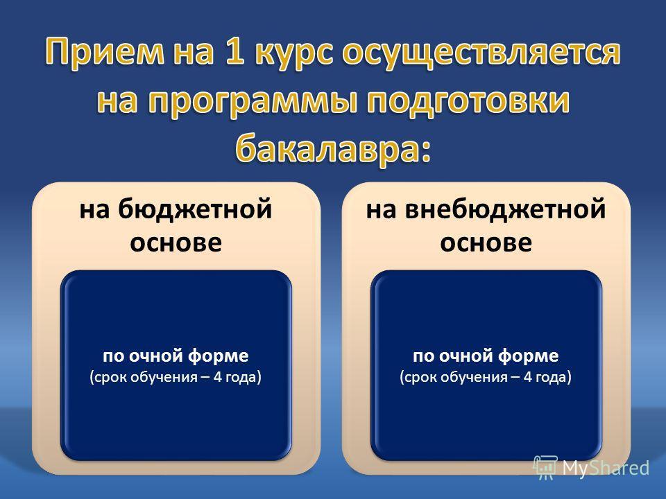 на бюджетной основе по очной форме (срок обучения – 4 года) на внебюджетной основе по очной форме (срок обучения – 4 года)