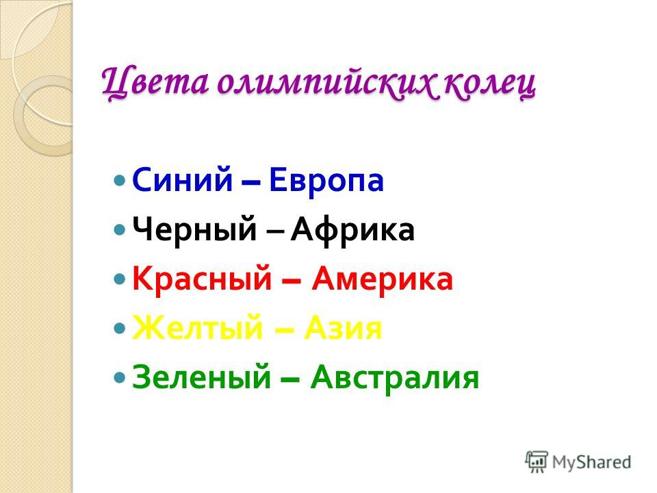 Цвета олимпийских колец Цвета олимпийских колец Синий – Европа Черный – Африка Красный – Америка Желтый – Азия Зеленый – Австралия