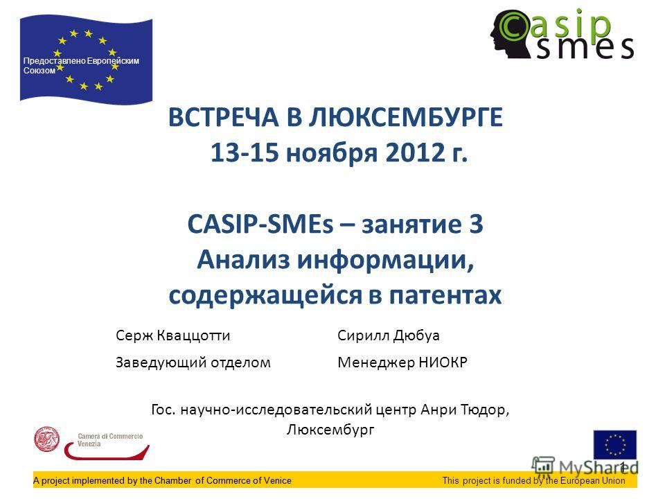 A project implemented by the Chamber of Commerce of VeniceThis project is funded by the European Union ВСТРЕЧА В ЛЮКСЕМБУРГЕ 13-15 ноября 2012 г. CASIP-SMEs – занятие 3 Анализ информации, содержащейся в патентах Предоставлено Европейским Союзом A pro