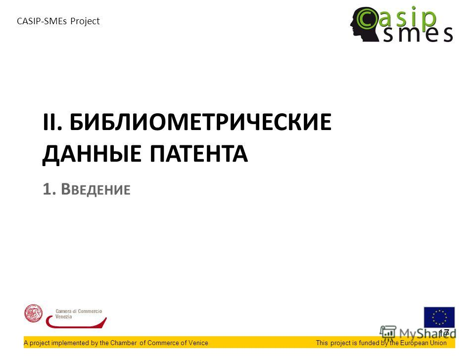 A project implemented by the Chamber of Commerce of VeniceThis project is funded by the European Union CASIP-SMEs Project II. БИБЛИОМЕТРИЧЕСКИЕ ДАННЫЕ ПАТЕНТА 1. В ВЕДЕНИЕ 17
