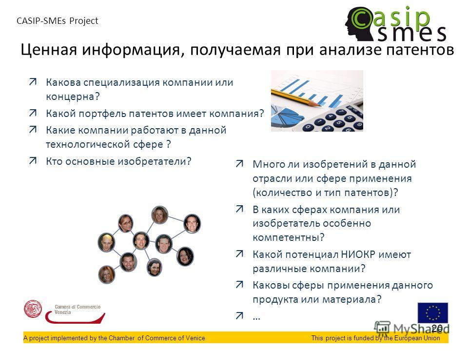 A project implemented by the Chamber of Commerce of VeniceThis project is funded by the European Union CASIP-SMEs Project äКакова специализация компании или концерна? äКакой портфель патентов имеет компания? äКакие компании работают в данной технолог