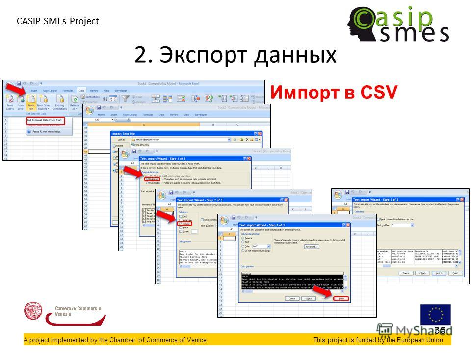 A project implemented by the Chamber of Commerce of VeniceThis project is funded by the European Union CASIP-SMEs Project A project implemented by the Chamber of Commerce of VeniceThis project is funded by the European Union 2. Экспорт данных Импорт