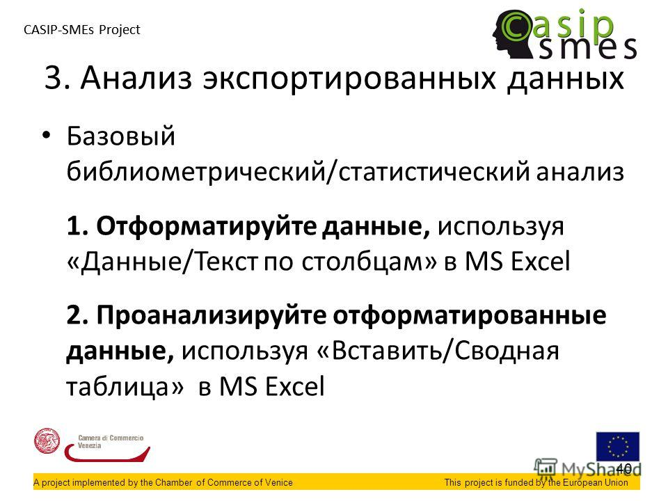 A project implemented by the Chamber of Commerce of VeniceThis project is funded by the European Union CASIP-SMEs Project A project implemented by the Chamber of Commerce of VeniceThis project is funded by the European Union Базовый библиометрический