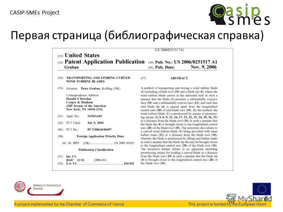 A project implemented by the Chamber of Commerce of VeniceThis project is funded by the European Union CASIP-SMEs Project A project implemented by the Chamber of Commerce of VeniceThis project is funded by the European Union Первая страница (библиогр