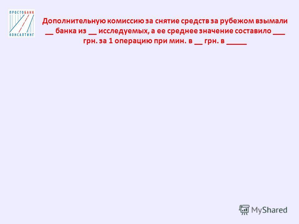 Дополнительную комиссию за снятие средств за рубежом взимали __ банка из __ исследуемых, а ее среднее значение составило ___ грн. за 1 операцию при мин. в __ грн. в _____