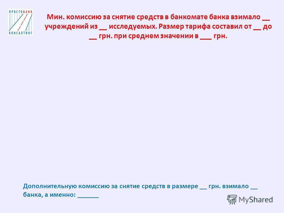 Мин. комиссию за снятие средств в банкомате банка взимало __ учреждений из __ исследуемых. Размер тарифа составил от __ до __ грн. при среднем значении в ___ грн. Дополнительную комиссию за снятие средств в размере __ грн. взимало __ банка, а именно: