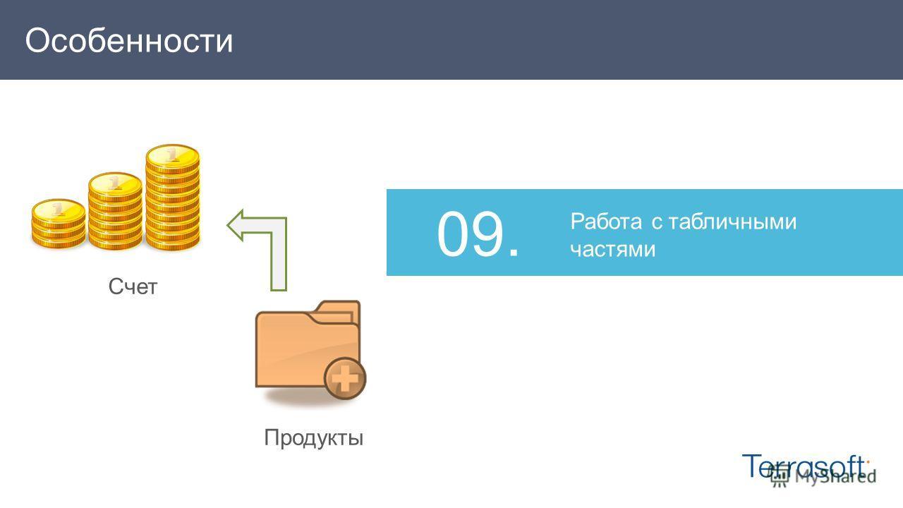Работа с табличными частями 09.09. Счет Продукты Особенности