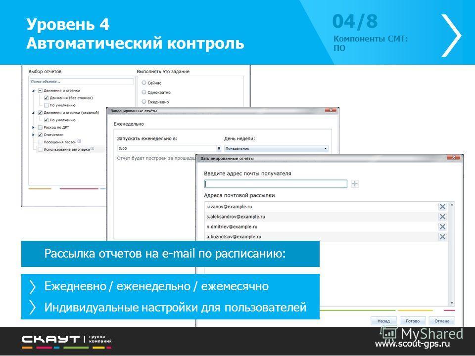 Рассылка отчетов на e-mail по расписанию: Ежедневно / еженедельно / ежемесячно Индивидуальные настройки для пользователей www.scout-gps.ru Уровень 4 Автоматический контроль 04/804/8 Компоненты СМТ: ПО