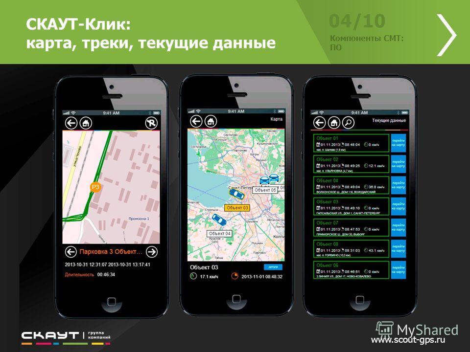 www.scout-gps.ru 04/10 Компоненты СМТ: ПО СКАУТ-Клик: карта, треки, текущие данные