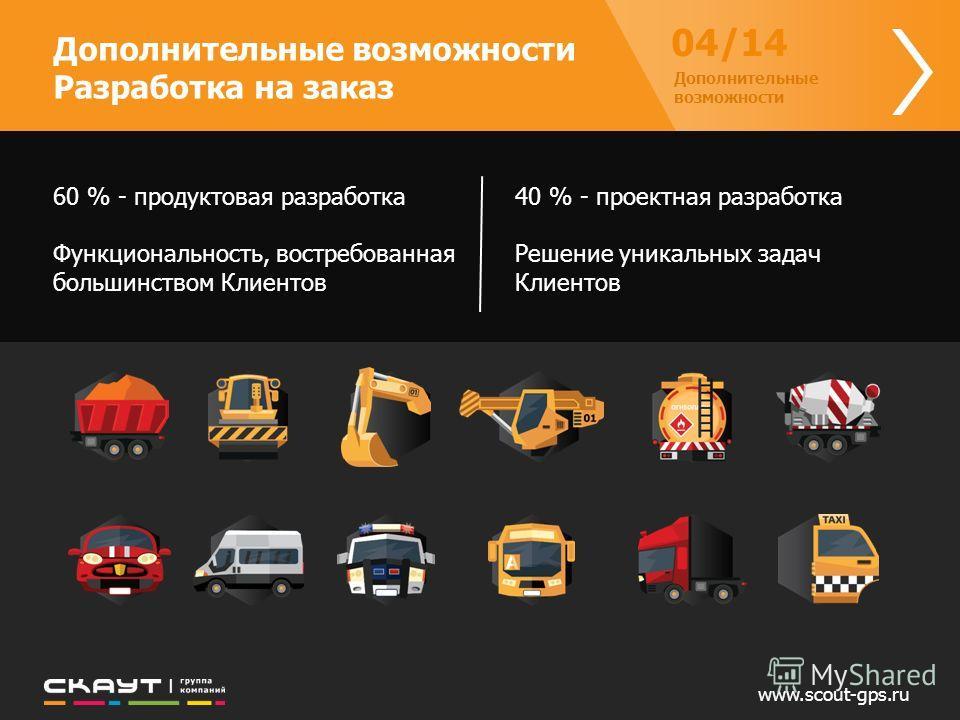 www.scout-gps.ru Дополнительные возможности Разработка на заказ 04/14 Дополнительные возможности 60 % - продуктовая разработка Функциональность, востребованная большинством Клиентов 40 % - проектная разработка Решение уникальных задач Клиентов