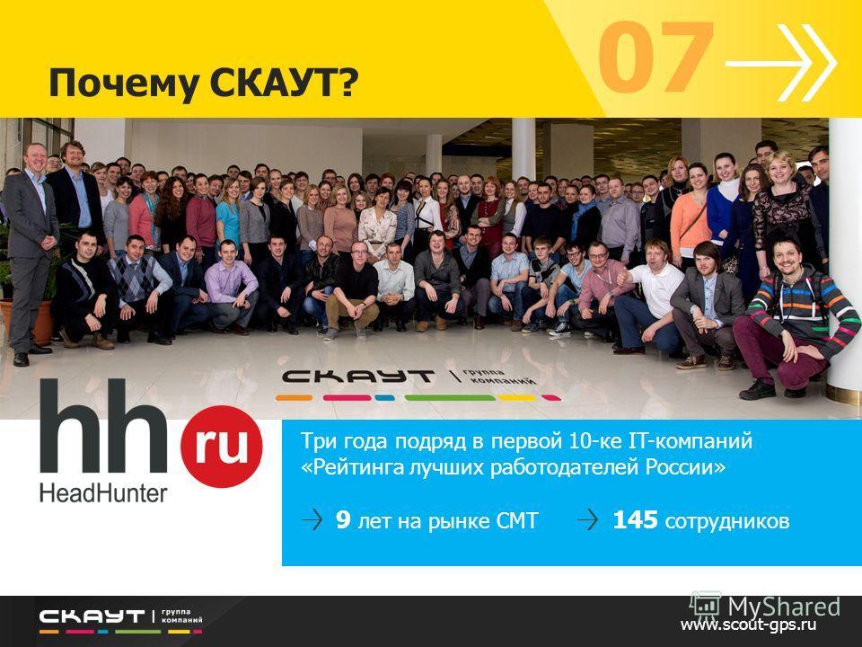 www.scout-gps.ru Почему СКАУТ? 07 Три года подряд в первой 10-ке IT-компаний «Рейтинга лучших работодателей России» 9 лет на рынке СМТ 145 сотрудников