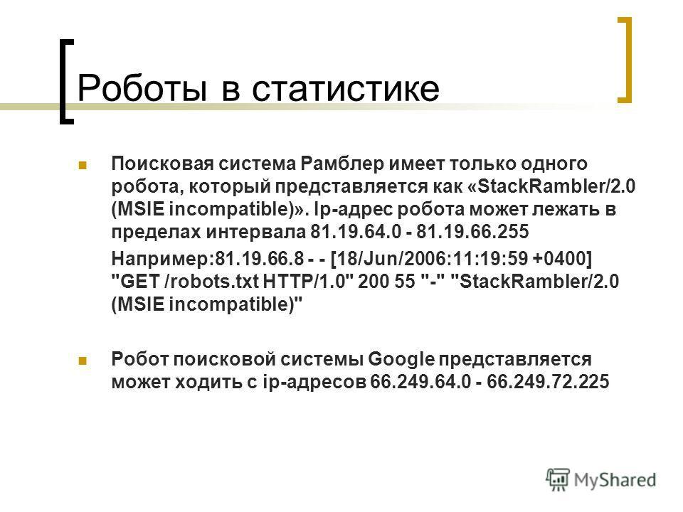 Роботы в статистике Поисковая система Рамблер имеет только одного робота, который представляется как «StackRambler/2.0 (MSIE incompatible)». Ip-адрес робота может лежать в пределах интервала 81.19.64.0 - 81.19.66.255 Например:81.19.66.8 - - [18/Jun/2