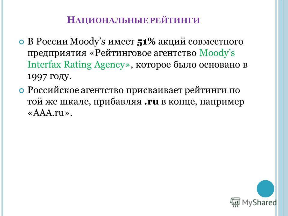 Н АЦИОНАЛЬНЫЕ РЕЙТИНГИ В России Moodys имеет 51% акций совместного предприятия «Рейтинговое агентство Moodys Interfax Rating Agency», которое было основано в 1997 году. Российское агентство присваивает рейтинги по той же шкале, прибавляя.ru в конце,