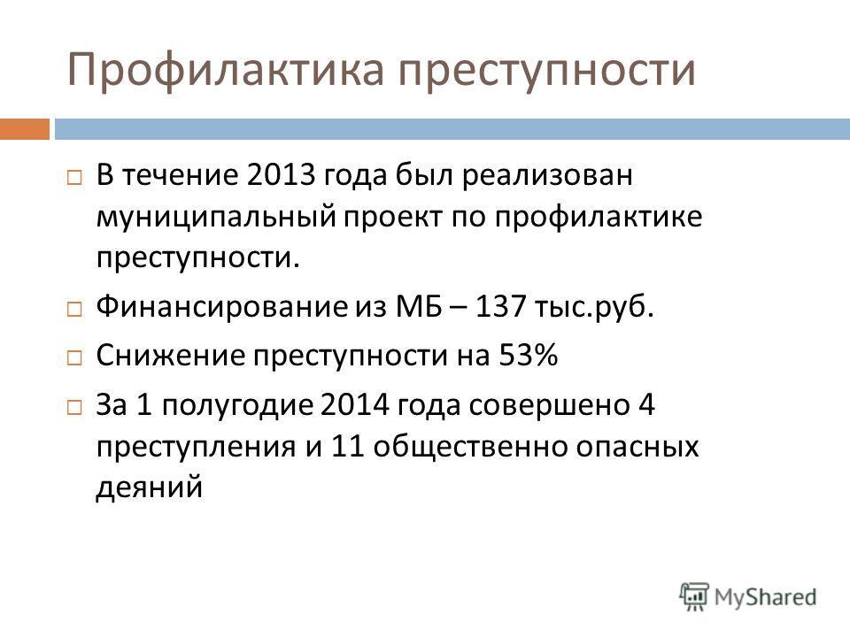Профилактика преступности В течение 2013 года был реализован муниципальный проект по профилактике преступности. Финансирование из МБ – 137 тыс. руб. Снижение преступности на 53% За 1 полугодие 2014 года совершено 4 преступления и 11 общественно опасн