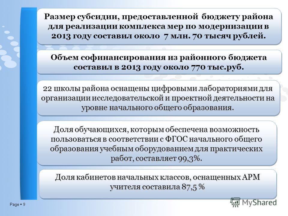 Page 9 Размер субсидии, предоставленной бюджету района для реализации комплекса мер по модернизации в 2013 году составил около 7 млн. 70 тысяч рублей. 22 школы района оснащены цифровыми лабораториями для организации исследовательской и проектной деят