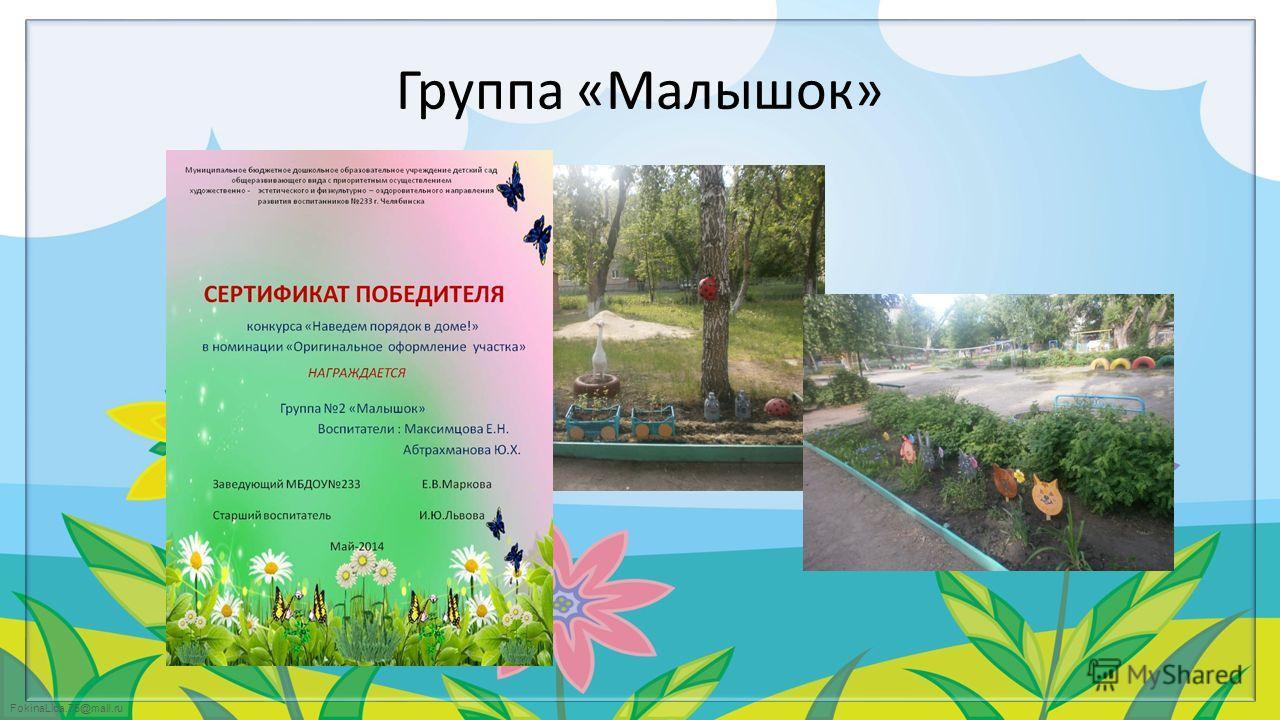 FokinaLida.75@mail.ru Группа «Малышок»