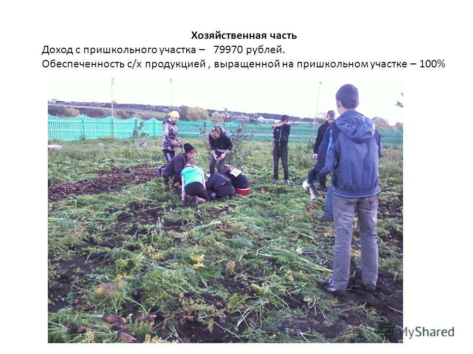 Хозяйственная часть Доход с пришкольного участка – 79970 рублей. Обеспеченность с/х продукцией, выращенной на пришкольном участке – 100%
