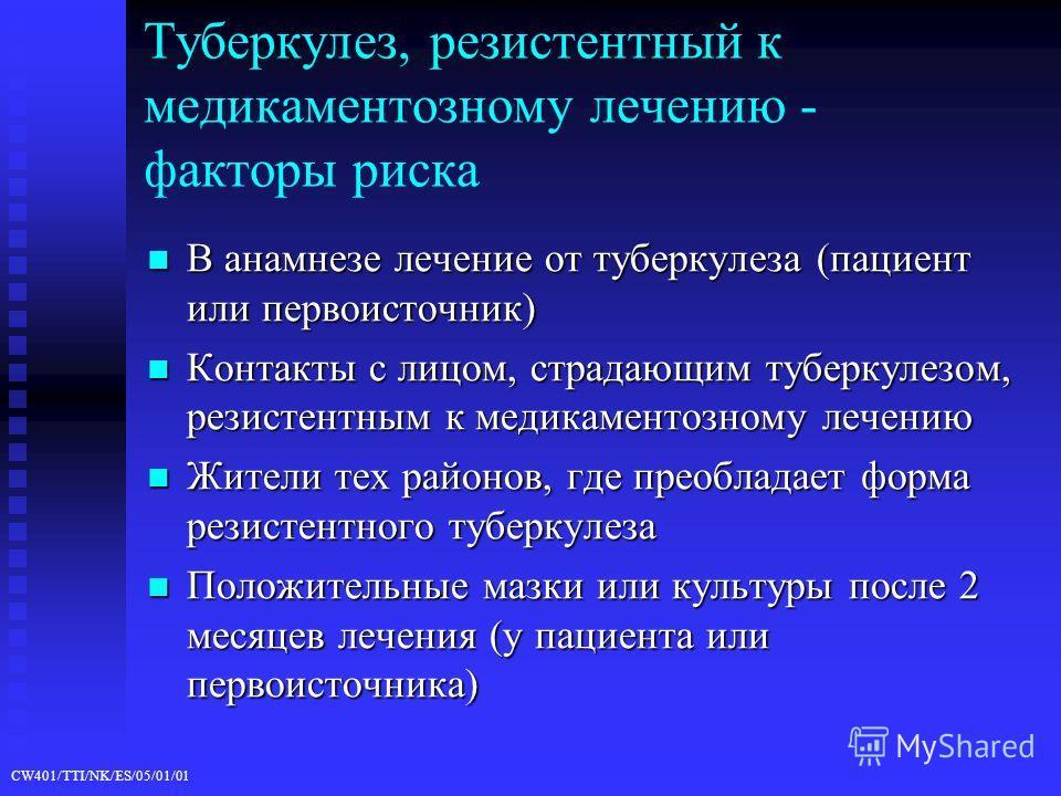 CW401/TTI/NK/ES/05/01/01 Туберкулез, резистентный к медикаментозному лечению - факторы риска В анамнезе лечение от туберкулеза (пациент или первоисточник) В анамнезе лечение от туберкулеза (пациент или первоисточник) Контакты с лицом, страдающим тубе