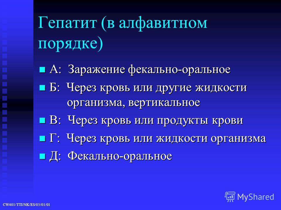 CW401/TTI/NK/ES/05/01/01 Гепатит (в алфавитном порядке) A: Заражение фекально-оральное A: Заражение фекально-оральное Б: Через кровь или другие жидкости организма, вертикальное Б: Через кровь или другие жидкости организма, вертикальное В: Через кровь