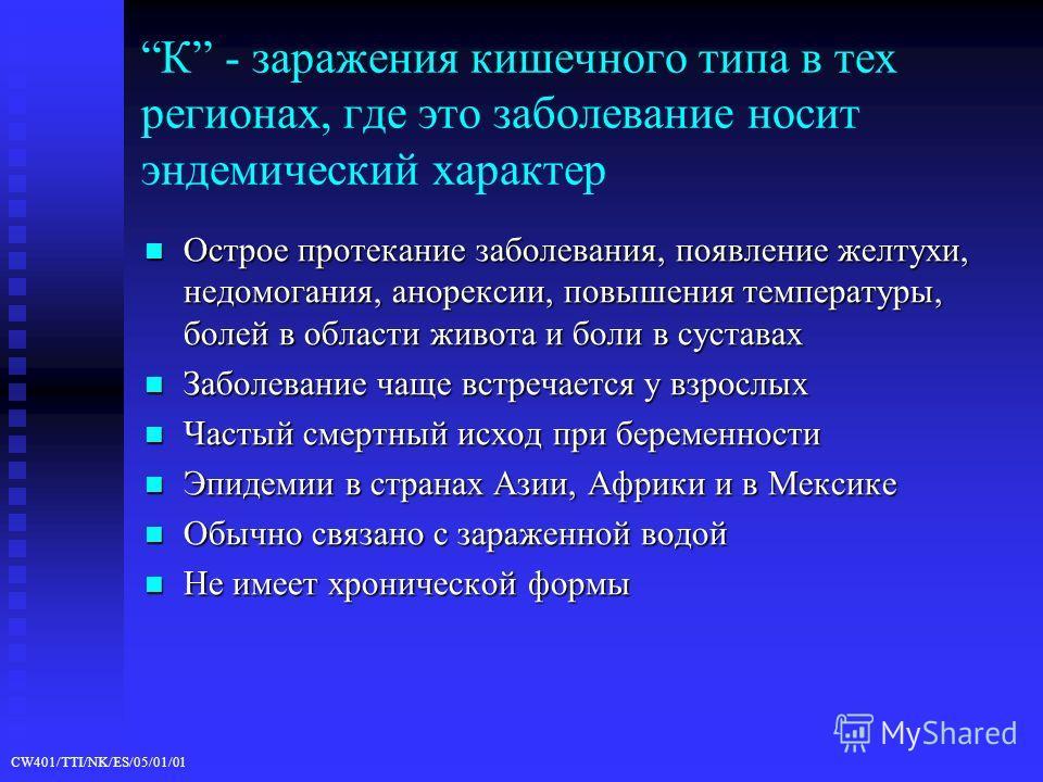 CW401/TTI/NK/ES/05/01/01 К - заражения кишечного типа в тех регионах, где это заболевание носит эндемический характер Острое протекание заболевания, появление желтухи, недомогания, анорексии, повышения температуры, болей в области живота и боли в сус