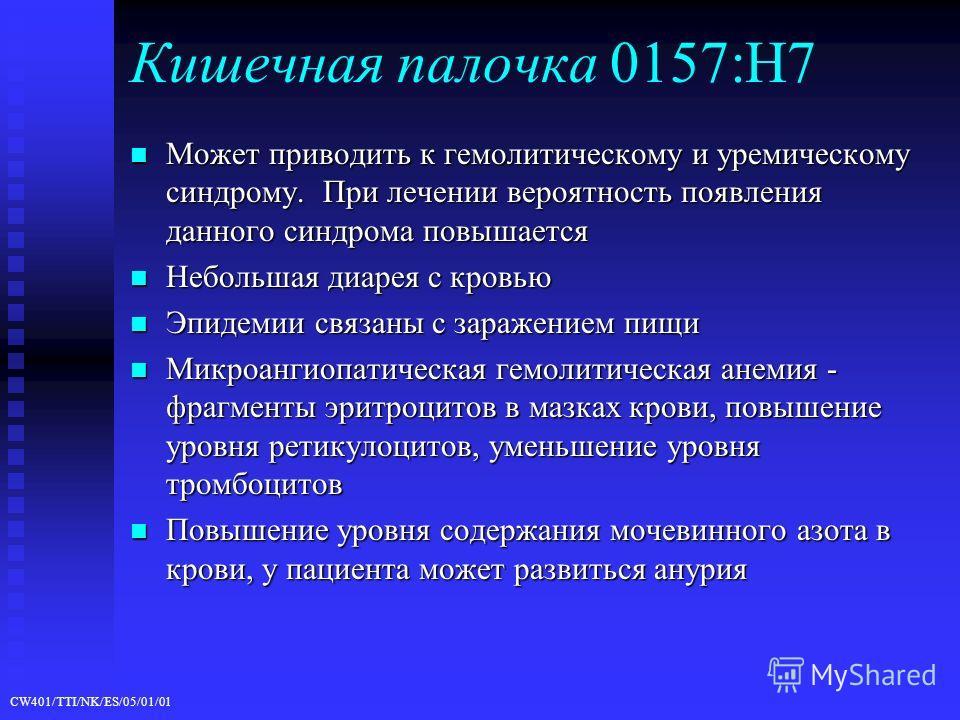 CW401/TTI/NK/ES/05/01/01 Кишечная палочка 0157:H7 Может приводить к гемолитическому и уремическому синдрому. При лечении вероятность появления данного синдрома повышается Может приводить к гемолитическому и уремическому синдрому. При лечении вероятно