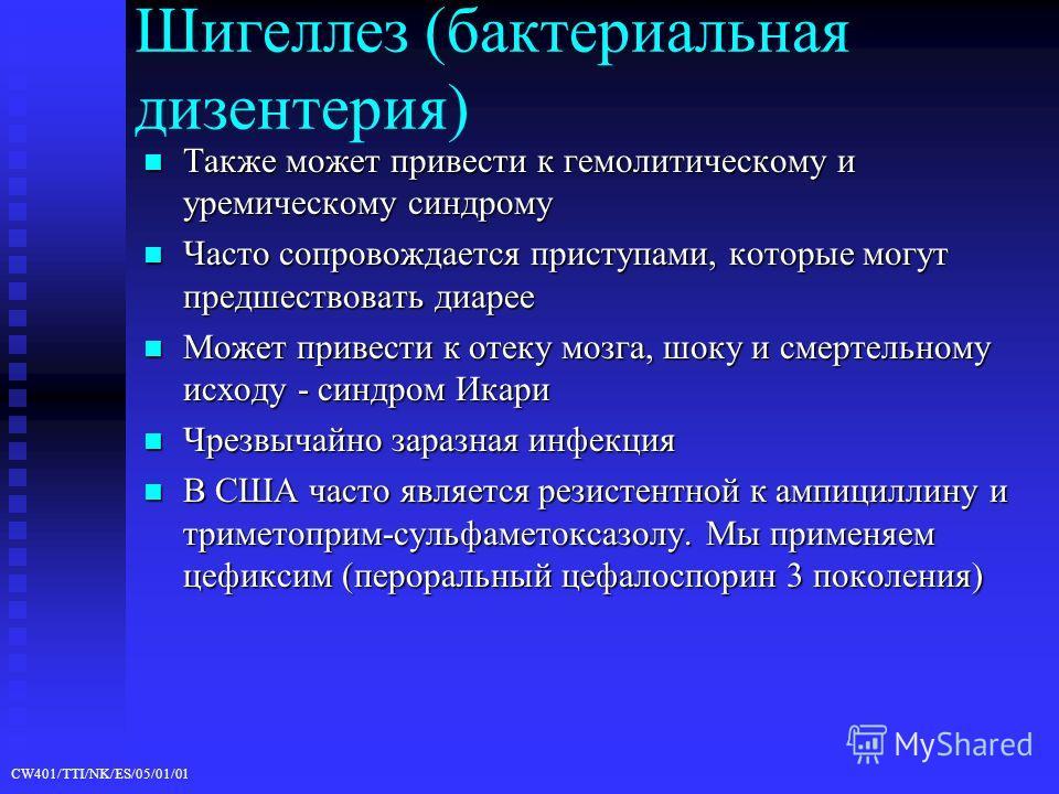 CW401/TTI/NK/ES/05/01/01 Шигеллез (бактериальная дизентерия) Также может привести к гемолитическому и уремическому синдрому Также может привести к гемолитическому и уремическому синдрому Часто сопровождается приступами, которые могут предшествовать д
