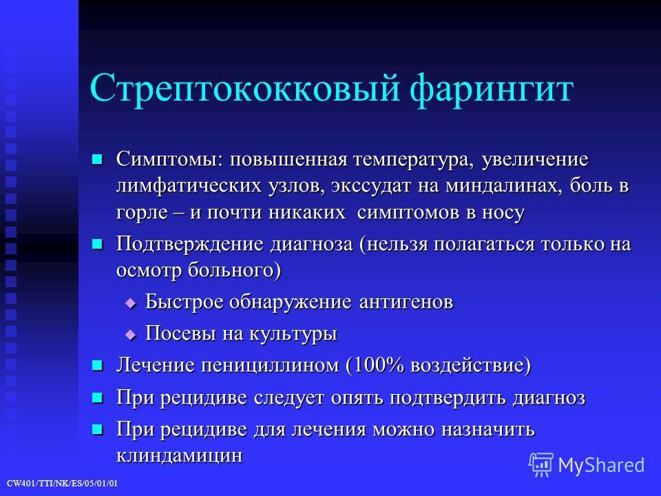 CW401/TTI/NK/ES/05/01/01 Стрептококковый фарингит Симптомы: повышенная температура, увеличение лимфатических узлов, экссудат на миндалинах, боль в горле – и почти никаких симптомов в носу Симптомы: повышенная температура, увеличение лимфатических узл