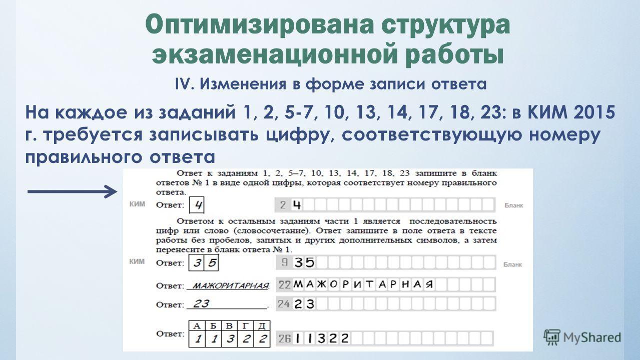 Оптимизирована структура экзаменационной работы IV. Изменения в форме записи ответа На каждое из заданий 1, 2, 5-7, 10, 13, 14, 17, 18, 23: в КИМ 2015 г. требуется записывать цифру, соответствующую номеру правильного ответа
