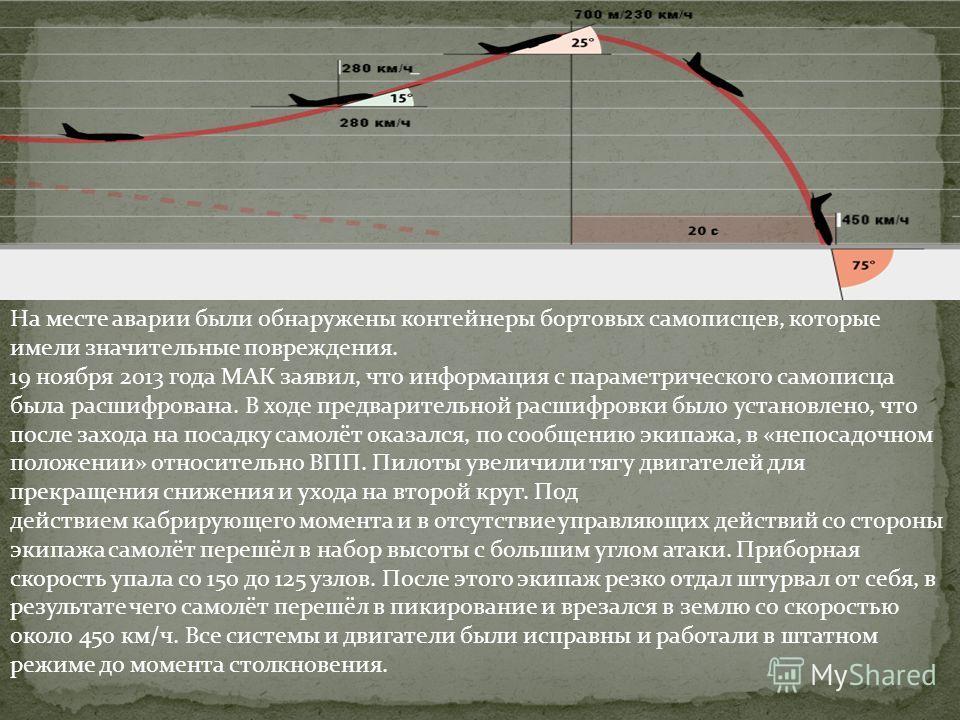 На месте аварии были обнаружены контейнеры бортовых самописцев, которые имели значительные повреждения. 19 ноября 2013 года МАК заявил, что информация с параметрического самописца была расшифрована. В ходе предварительной расшифровки было установлено