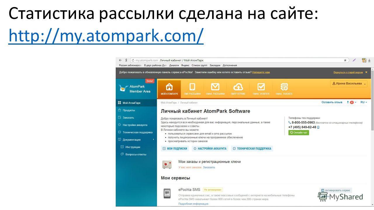 Статистика рассылки сделана на сайте: http://my.atompark.com/ http://my.atompark.com/