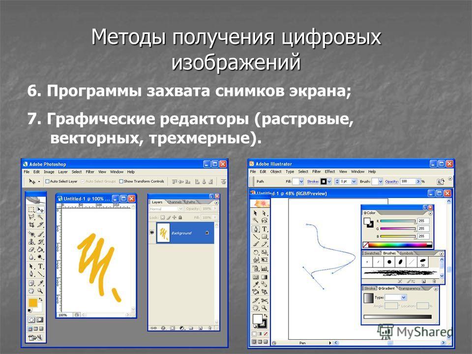 Методы получения цифровых изображений 6. Программы захвата снимков экрана; 7. Графические редакторы (растровые, векторных, трехмерные).