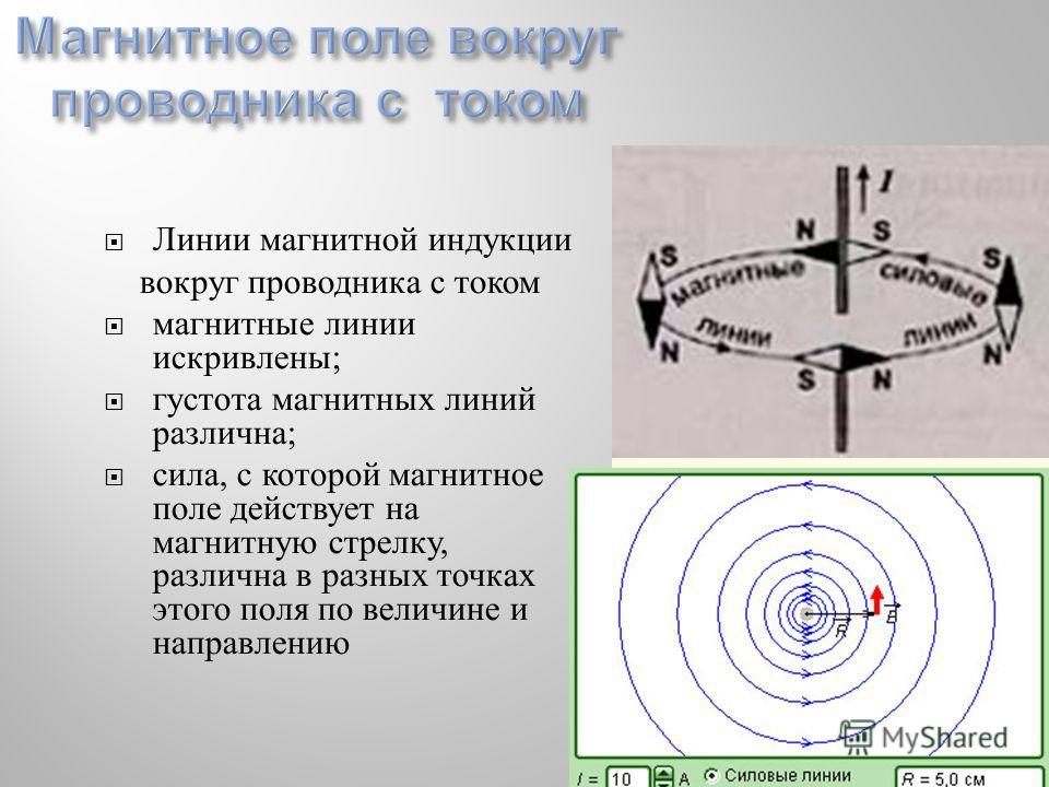 Линии магнитной индукции вокруг проводника с током магнитные линии искривлены ; густота магнитных линий различна ; сила, с которой магнитное поле действует на магнитную стрелку, различна в разных точках этого поля по величине и направлению
