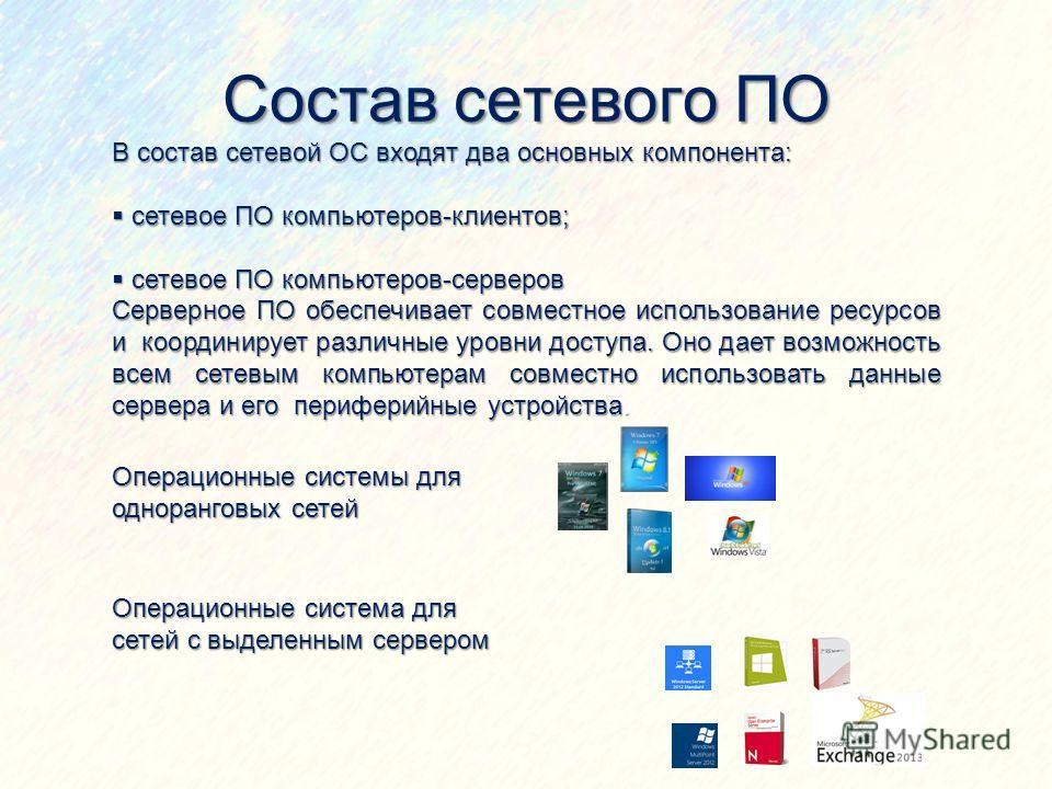 Состав сетевого ПО В состав сетевой ОС входят два основных компонента: сетевое ПО компьютеров-клиентов; сетевое ПО компьютеров-клиентов; сетевое ПО компьютеров-серверов сетевое ПО компьютеров-серверов Серверное ПО обеспечивает совместное использовани