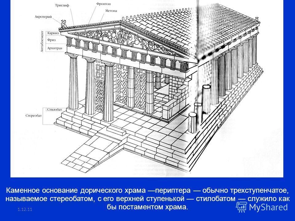 1.12.11 Каменное основание дорического храма периптера обычно трехступенчатое, называемое стереобатом, с его верхней ступенькой стилобатом служило как бы постаментом храма.