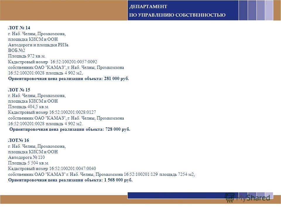 ЛОТ 14 г. Наб. Челны, Промкомзона, площадка КИСМ и ООН Автодороги и площадки РИЗа ВОБ 2 Площадь 972 кв.м. Кадастровый номер 16:52:100201:0057:0092 собственник ОАО