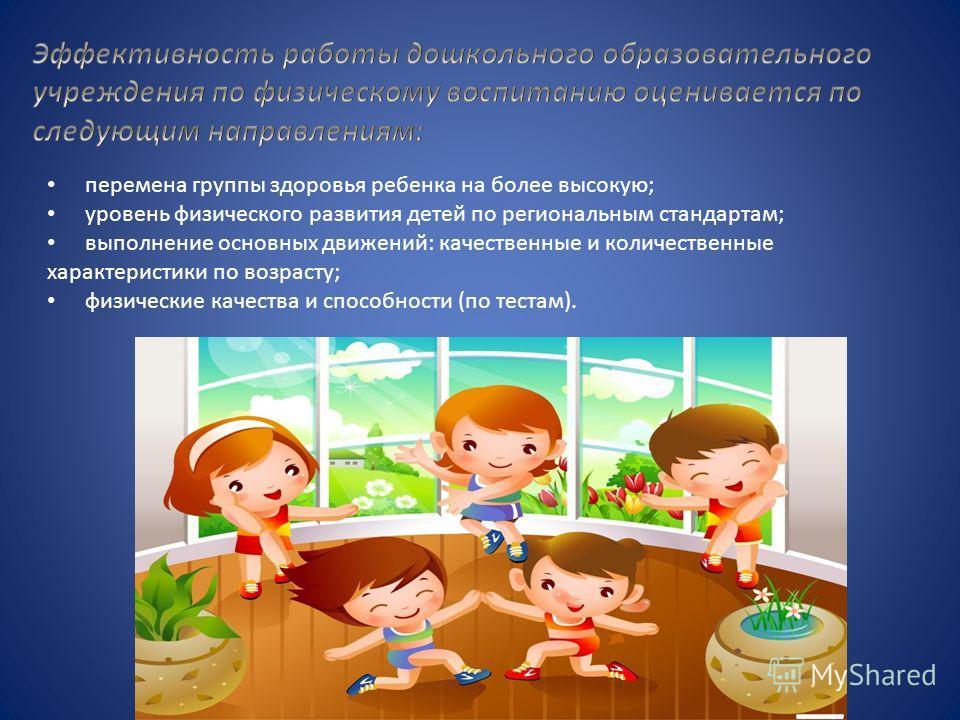 перемена группы здоровья ребенка на более высокую; уровень физического развития детей по региональным стандартам; выполнение основных движений: качественные и количественные характеристики по возрасту; физические качества и способности (по тестам).