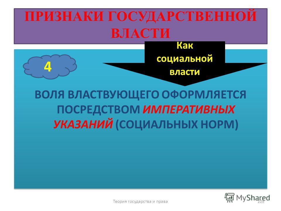 ПРИЗНАКИ ГОСУДАРСТВЕННОЙ ВЛАСТИ ВОЛЯ ВЛАСТВУЮЩЕГО ОФОРМЛЯЕТСЯ ПОСРЕДСТВОМ ИМПЕРАТИВНЫХ УКАЗАНИЙ (СОЦИАЛЬНЫХ НОРМ) Теория государства и права 109 4 Как социальной власти