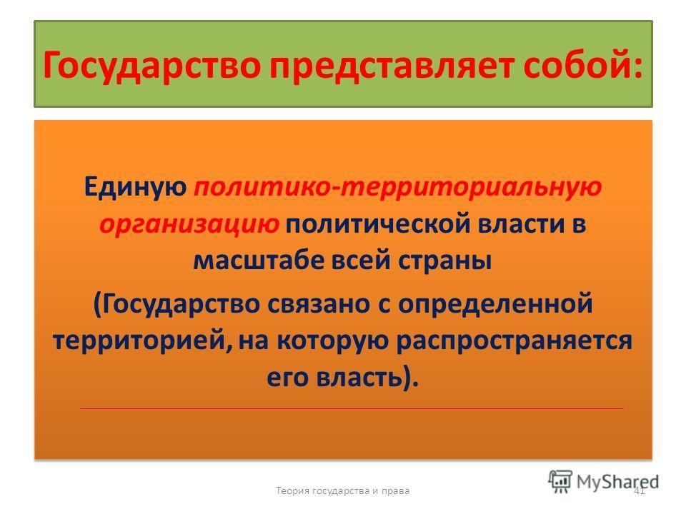 Государство представляет собой: Единую политико-территориальную организацию политической власти в масштабе всей страны (Государство связано с определенной территорией, на которую распространяется его власть). Единую политико-территориальную организац