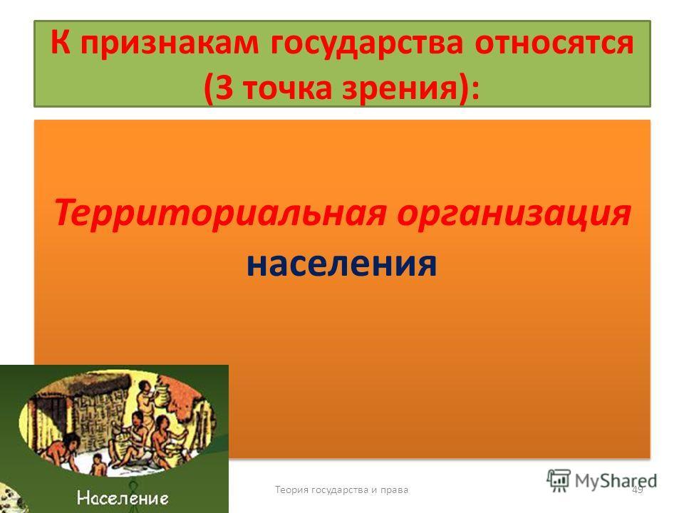 К признакам государства относятся (3 точка зрения): Территориальная организация населения Теория государства и права 49