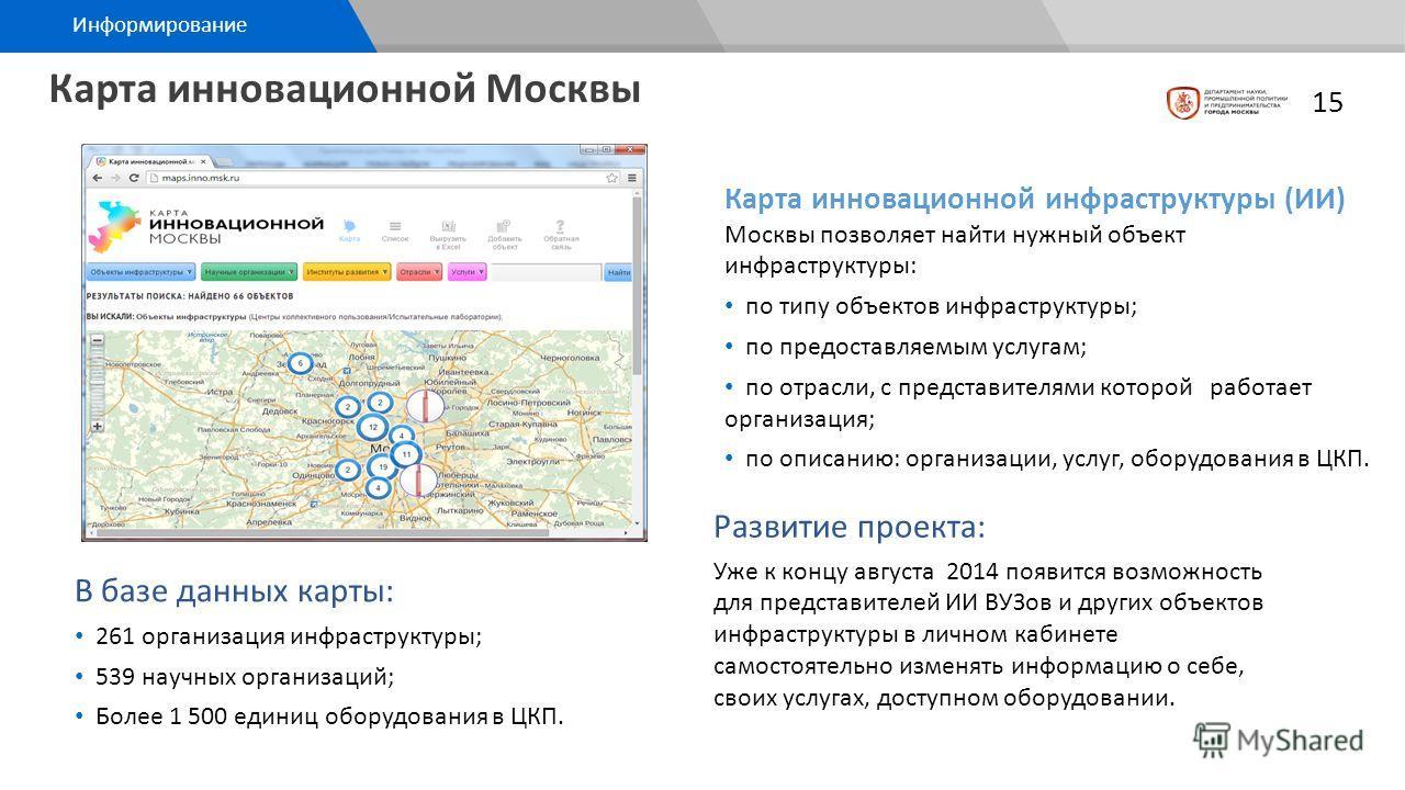 Карта инновационной Москвы Развитие проекта: Уже к концу августа 2014 появится возможность для представителей ИИ ВУЗов и других объектов инфраструктуры в личном кабинете самостоятельно изменять информацию о себе, своих услугах, доступном оборудовании