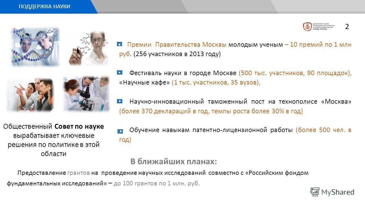 Премии Правительства Москвы молодым ученым – 10 премий по 1 млн руб. (256 участников в 2013 году) Фестиваль науки в городе Москве (500 тыс. участников, 90 площадок), «Научные кафе» (1 тыс. участников, 35 вузов), Научно-инновационный таможенный пост н